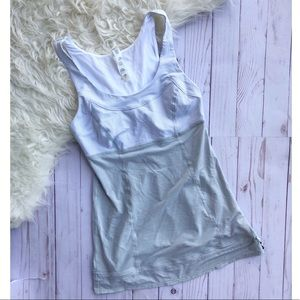 Lululemon Tame Me Tank grey and white striped
